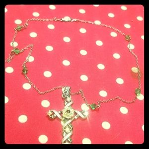 Vintage cross necklace with colorful crystals